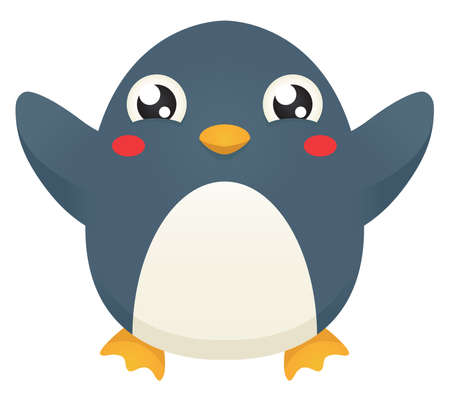 Illustration of a cute cartoon penguin with its flippers raised   up in celebration. Illustration