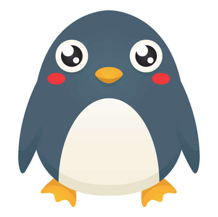 Illustration of a cute cartoon penguin with a neutral expression. Çizim