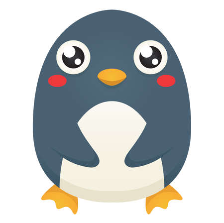 Illustration of a cute cartoon penguin with a neutral expression,   patting its belly.