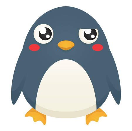Illustration of a cute cartoon penguin with a puzzled expression. Çizim