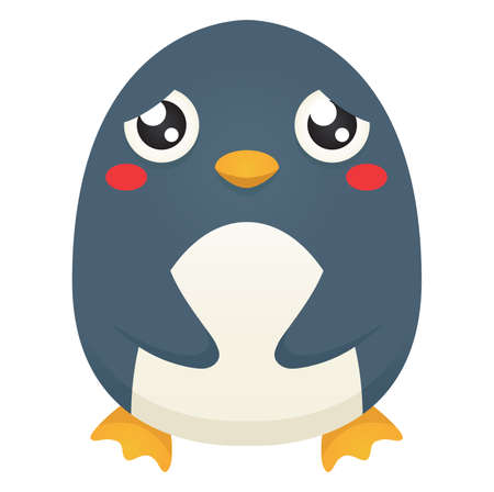 Illustration of a cute cartoon penguin with a sad expression.