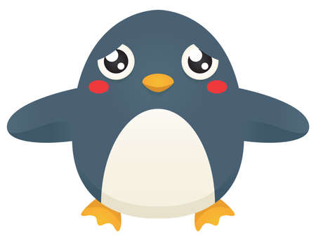 Illustration of a cute cartoon penguin looking for a hug.
