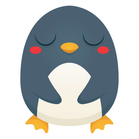 Illustration of a cute cartoon penguin with closed eyes. Vector