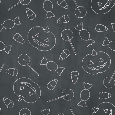 Hand-drawn pattern of various halloween treats in white chalk on a blackboard background. Seamlessly Repeatable.