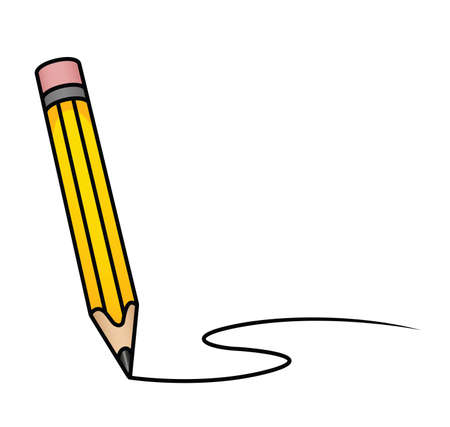 taper: Illustration depicting a cartoon pencil drawing a curved line. Illustration