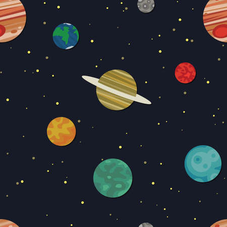 Pattern depicting different planets in space. Seamlessly repeatable.