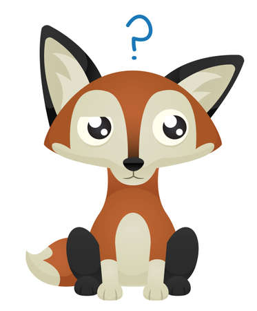 Illustration of a cute cartoon fox with a confused facial expression. Çizim