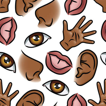 Pattern depicting illustrations of the five senses. Seamlessly Repeatable. Ilustração