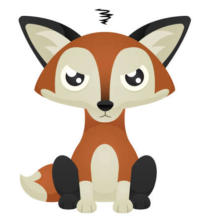Illustration of a cute cartoon fox sitting with an angry expression. 向量圖像