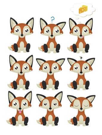 A collection of cute foxes with 9 different facial expressions. Vector