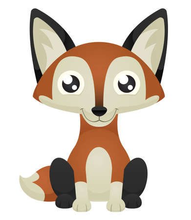 Illustration of a cute cartoon fox sitting with a happy expression.