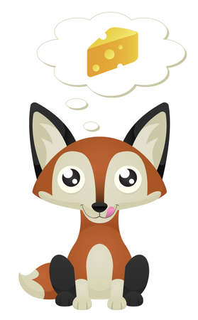 Illustration of a cute cartoon fox sitting with a hungry expression.