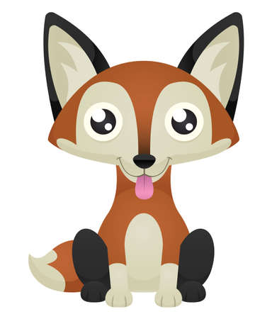 Illustration of a cute cartoon fox sitting with its tongue out. 向量圖像