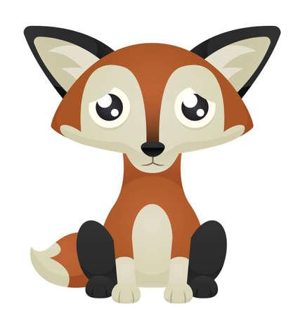 bushy: Illustration of a cute cartoon fox sitting with a sad expression.