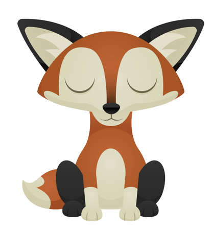 Illustration of a cute cartoon fox with its eyes closed.
