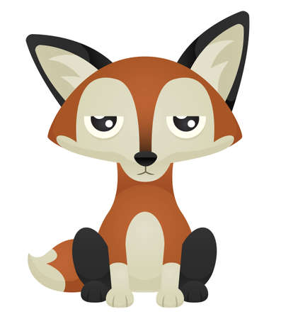 Illustration of a cute cartoon fox sitting with an unimpressed expression.