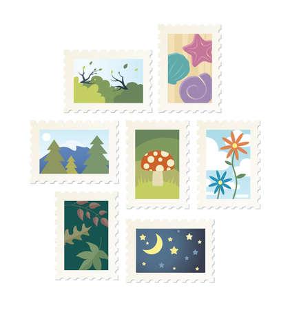 Colección de 9 naturaleza diseños sello postal. Foto de archivo - 39338088