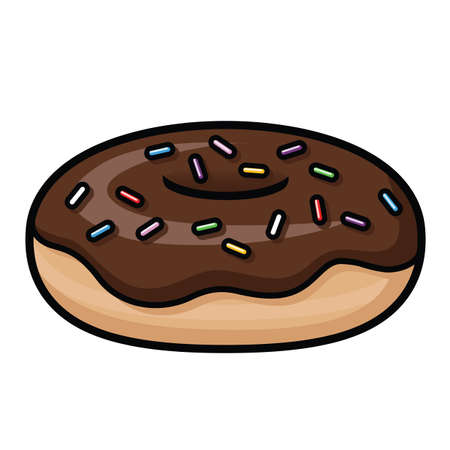 Illustration depicting a cartoon donut with chocolate icing and rainbow sprinkles.
