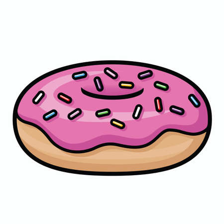 Illustration depicting a cartoon donut with pink icing and rainbow sprinkles. Ilustração