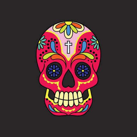 A calavera or sugar skull on a black backdrop.