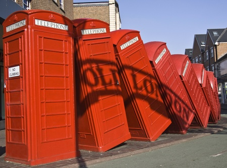 kingston: Red telephone boxes in London. Kingston Stock Photo