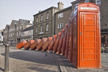 Red telephone boxes in London. Kingston photo