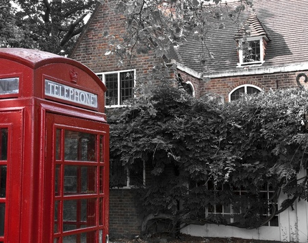 Red telephone box in London photo
