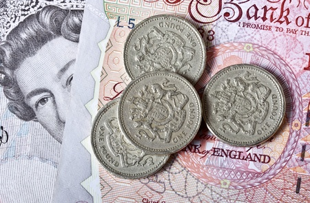 British pounds. Notes and coins Stock Photo - 10686804