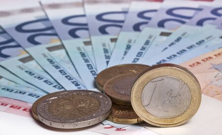 Euro. Notes and coins photo