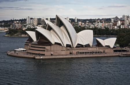 Side view of the Sydney Opera House from the harbour