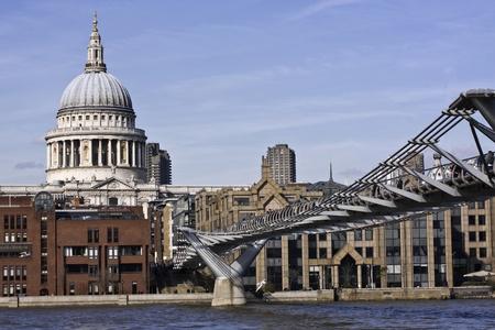 St Paul`s Cathedral and Millennium Bridge photo