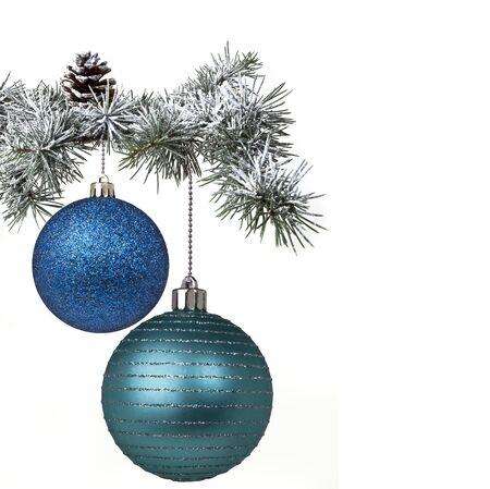Christmas balls and tree photo