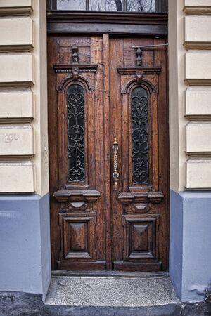 Antique door in the old city photo