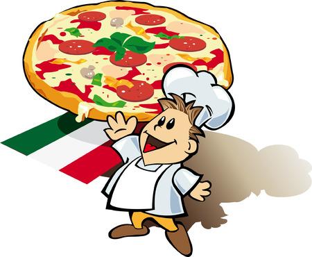 Cocinero italiano cocinar con pizza gigante