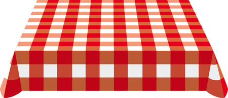 picnic blanket: Table cloth  on the table Illustration