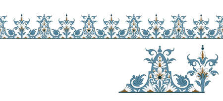 Seamless european vintage blue edge with isolated element Vector