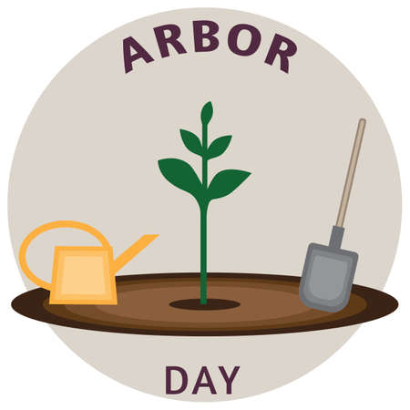 Vector illustration for arbor day; Seedling, watering can and shovel