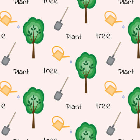 Seamless pattern with wood, shovel, watering can and words plant a tree