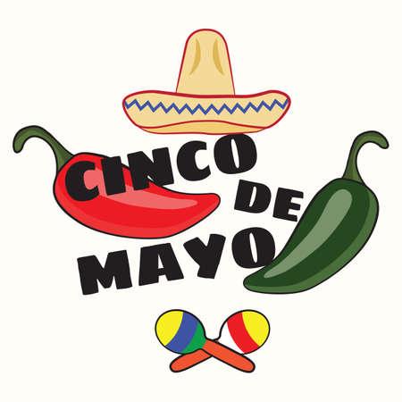 Vector illustration of Cinco de Mayo celebration background. Jalapeno, maracas; sombrero. Mexican Holiday
