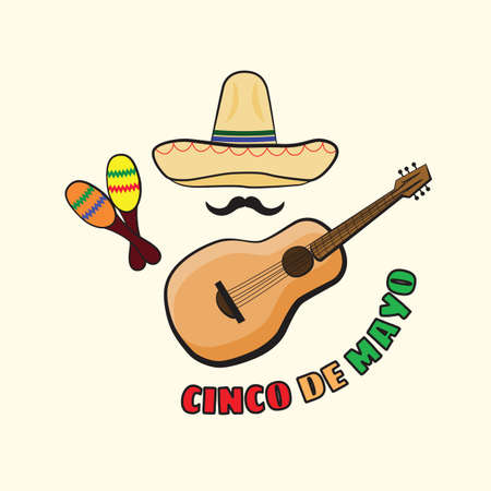 Vector illustration of Cinco de Mayo celebration background. Guitar, whiskers, maracas; sombrero. Mexican Holiday
