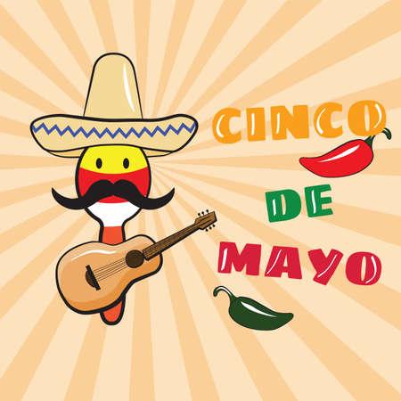 Cinco de Mayo. Maracas with a mustache in a sombrero and a guitar. Mexican Holiday