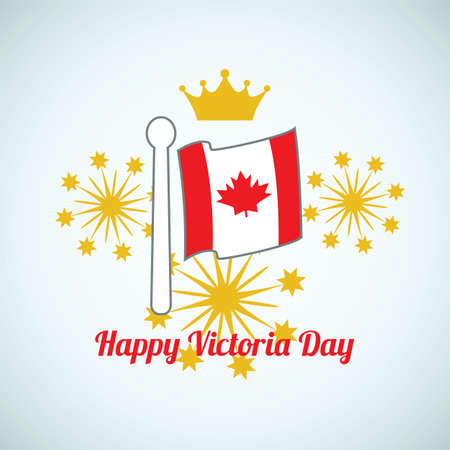 Vector illustration of a Happy Victoria day. Background with flag, crown, fireworks and inscription Happy Victoria day