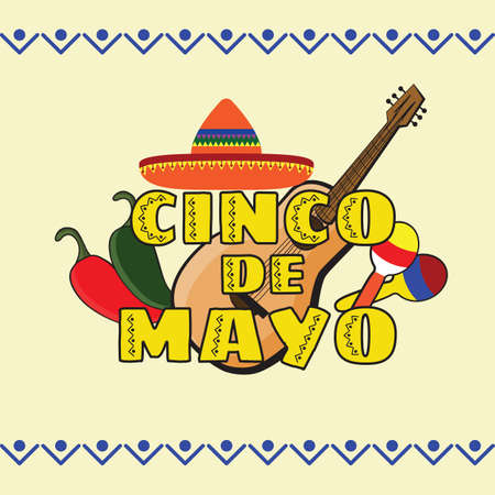 Vector illustration of Cinco de Mayo celebration background. Guitar, jalapenos, maracas; sombrero. Mexican Holiday
