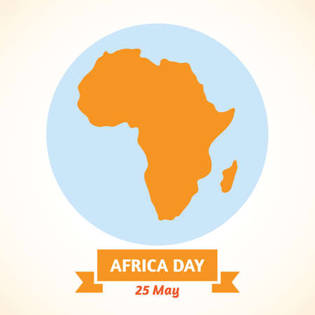 Illustration of the Day of Africa with a silhouette of the continent Ilustração