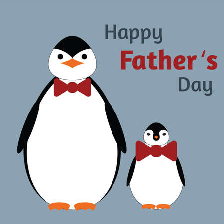 Greeting card for fathers Day. Papa penguin and son penguin