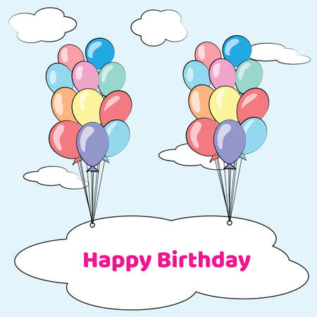 Happy birthday card with balloons. Vector Illustration