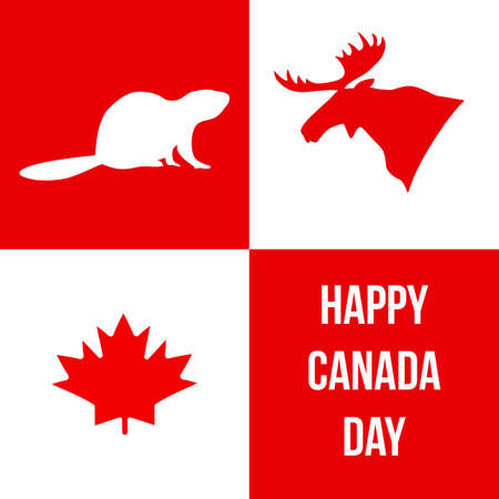 Happy Canada Day Silhouettes Of The Symbols Of Canada Moose