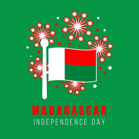 Independence day of Madagascar. Greeting card. Flag and fireworks on a green background. Vector illustration