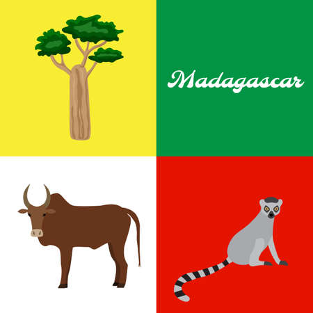 Symbol of Madagascar: baobab tree, zebu, lemur. Vector illustration.