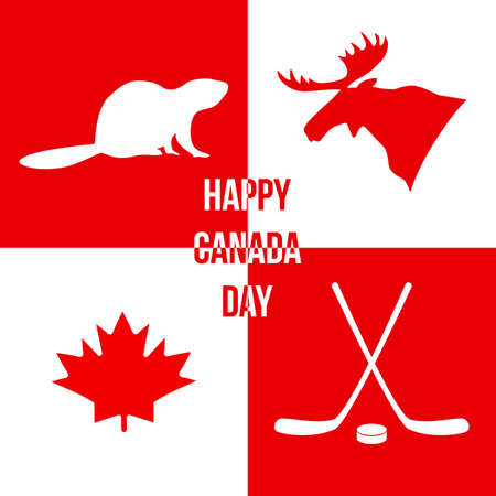 Happy Canada Day. Silhouettes of the symbols of Canada: moose, beaver, maple leaf, hockey puck, hockey stick. Vector illustration